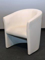 Lounge-Sessel ledergepolstert weiß